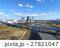 空撮 二子玉川のビルと多摩川 27821047