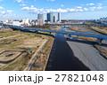 空撮 二子玉川のビルと多摩川 27821048