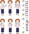 若い女性の6種類の仕草と表情 27822781