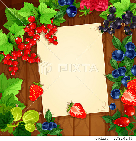 Berries vector recipe or message note blank form 27824249