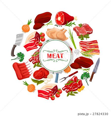 Butcher shop meat or butchery vector poster 27824330