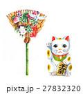 縁起物 招き猫と熊手 27832320