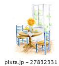 ガーデンテラス ウッドチェア ウッドテーブルのイラスト 27832331