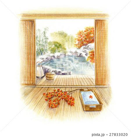 露天風呂を満喫!のイラスト素材 [27833020] - PIXTA