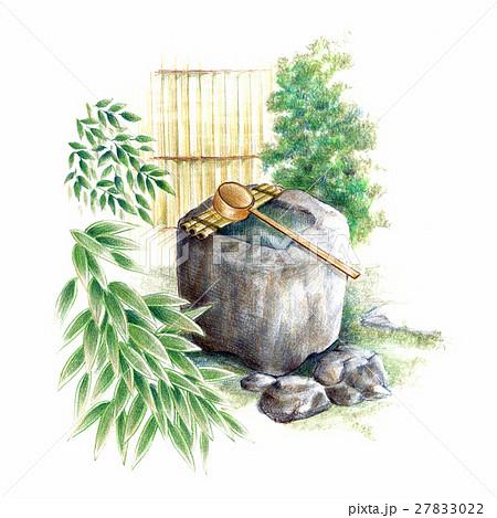 庭にたたずむ手水鉢 27833022