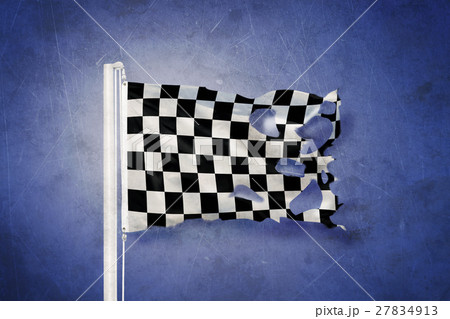 Torn finish flag flying against grunge backgroundのイラスト素材 [27834913] - PIXTA