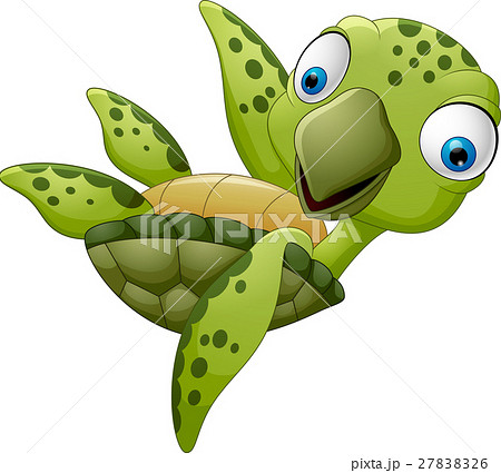 cute cartoon turtle waving 27838326