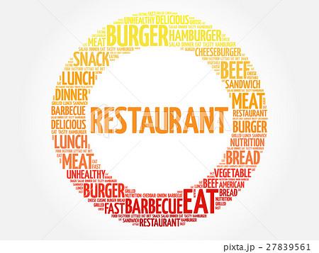 restaurant word cloudのイラスト素材 27839561 pixta