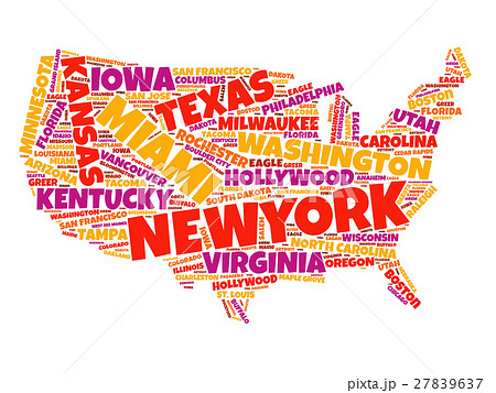 usa map word cloud collageのイラスト素材 27839637 pixta