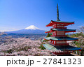 桜咲く新倉山浅間公園、忠霊塔と富士山 27841323