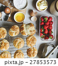 Baked Scone Pastry Eggs Strawberry Concept 27853573