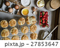 Baked Scone Pastry Eggs Strawberry Concept 27853647