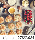 Baked Scone Pastry Eggs Strawberry Concept 27853684