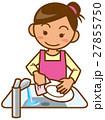 主婦 上半身 食器を洗うイメージイラスト 27855750