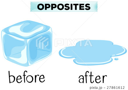 opposite words for before and afterのイラスト素材 27861612 pixta