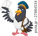 Cartoon funny pigeon bird delivering letter 27864534