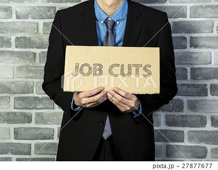 man holding job cuts brand 27877677