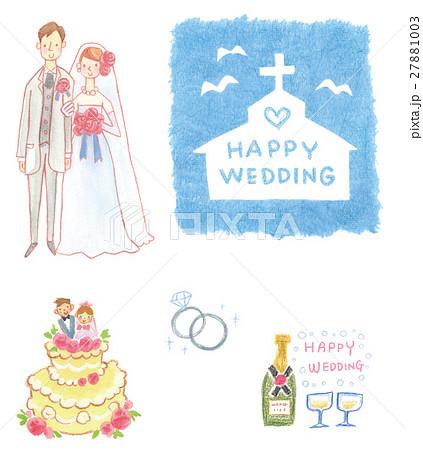 手書きウェディング素材セット ドレス ケーキ 指輪 シャンパン 教会 のイラスト素材