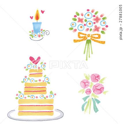 手書きウェディング素材セット キャンドル ブーケ ウェディングケーキ のイラスト素材