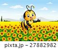 Cartoon bee in the sunflower field 27882982