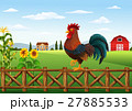 Cute cartoon rooster standing in the farm fence 27885533