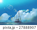 the sailboat in the sea against summer sky 27888907