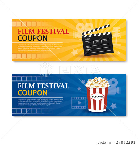 film festival banner and coupon cinema template caのイラスト素材