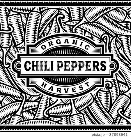 Retro Chili Pepper Harvest Label Black And White 27898641