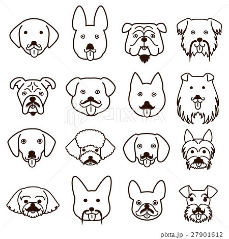 ヒゲのある犬の顔セット 線画のイラスト素材 27901612 Pixta