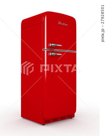 Retro fridge isolated white background 3D 27928501