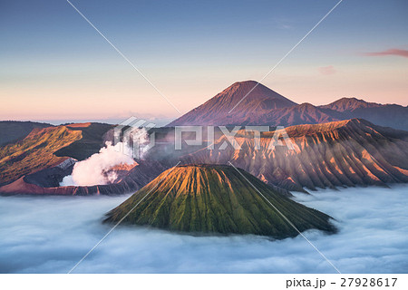 Mount Bromo volcano during sunrise 27928617