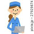 女性 作業着 作業員のイラスト 27929874