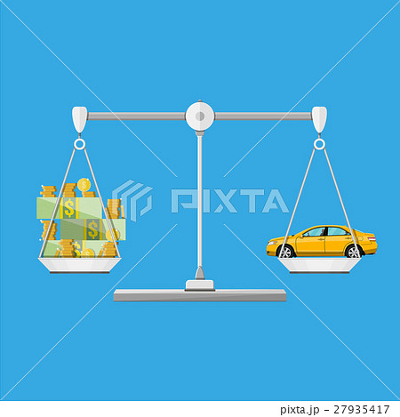 Scales with car and money coins cash 27935417