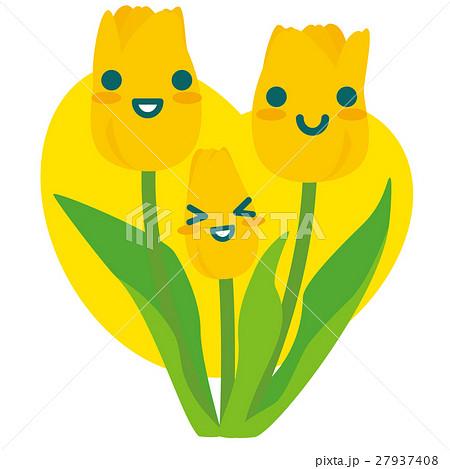 黄色いチューリップの親子(黄) 27937408