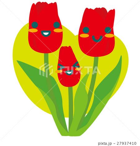 赤いチューリップの親子(緑) 27937410