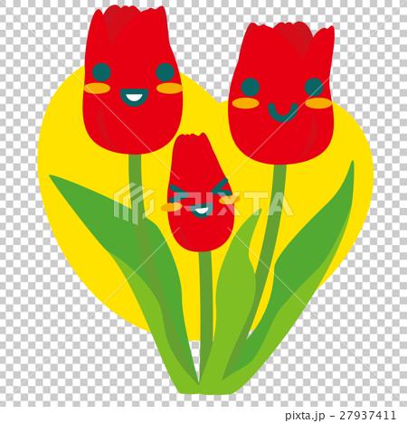 赤いチューリップの親子(黄) 27937411