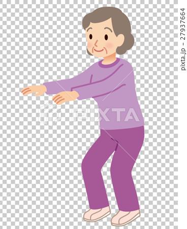 老人 蹲坐 祖母 27937664