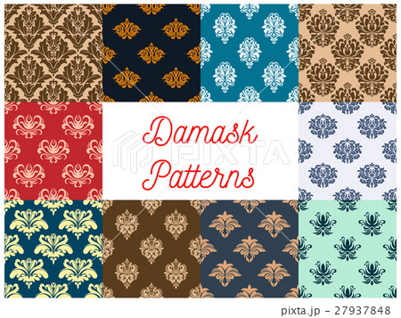 Vintage damask tracery seamless pattern backgroundのイラスト素材 [27937848] - PIXTA