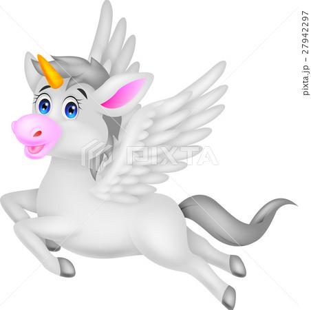 White unicorn horse cartoonのイラスト素材 [27942297] - PIXTA