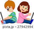 Boy and girl studying with laptop 27942994