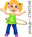 Cute girl twirling hula hoop 27947246