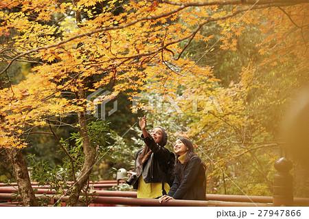 紅葉狩りをする外国人女性と日本人女性 27947866