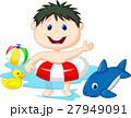 少年 プール おもちゃのイラスト 27949091