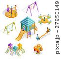 Isometric Swinging Kids Icon Set 27950149