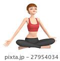 3D イラスト - ヨガを練習している若い女性 27954034