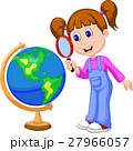 Cartoon girl using magnifying glass looking at glo 27966057