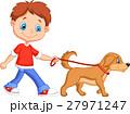 Cute boy walking with dog 27971247