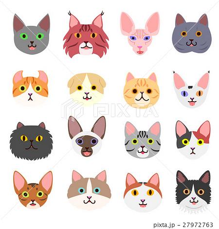 かわいい猫の顔セットのイラスト素材