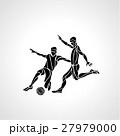 Soccer or football players kicks the ball 27979000