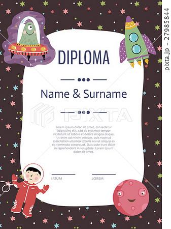 diploma cartoon vector templateのイラスト素材 27985844 pixta